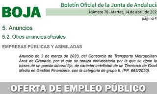 Convocatoria puesto Técnico/a de Grado Medio en Gestión Financiera en el Consorcio de Transportes de Granada