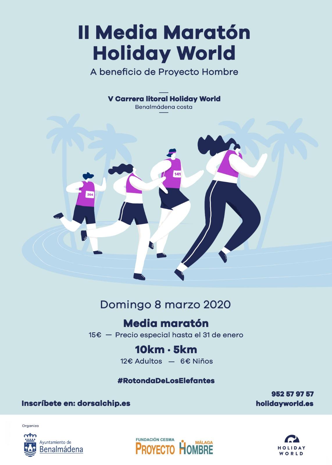 La II Media Maratón y V Carrera Litoral Holiday World del domingo, 8 de marzo, en Benalmádena Costa podrá afectar a varias líneas del Consorcio