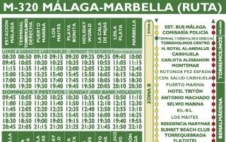 Nuevos horarios de paso en la ruta M-320 Málaga-Marbella